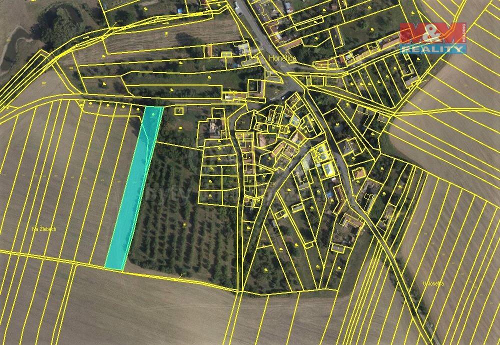 Prodej zemědělské půdy 2307 m², Honětice