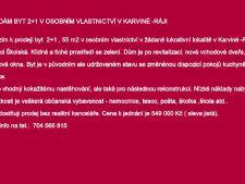 Prodej bytu 2+1, Karviná - Ráj, Školská 466/58, 549.000,- Kč