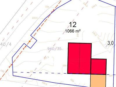 Prodej stavební parcely 1066 m²